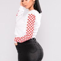 Nia Checked Top - White