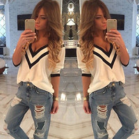 Sexy Women Ladies Casual Loose V Neck Long Sleeve Top Blouse Tee Shirt UK 6-14