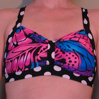 Butterfly Wings and Polka Dots Retro Glowga Blacklight Yoga Bra Top Bralette M
