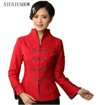 New Red Women's Linen Cotton Jacket Chinese Traditional Tang Suit Mandarin Collar Long-Sleeve Coat Size S M L XL XXL XXXL T019
