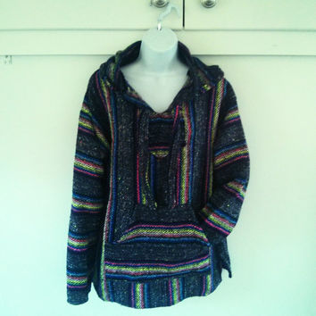 Mexican Baja Hoodie- Medium/ urban outfitters/ hippie / boho/ gypsy/ surfwear / surfer / pullover / drug rug/apparel / gift