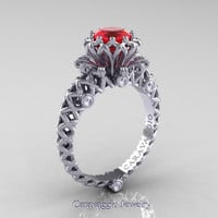 Caravaggio Lace 14K White Gold 1.0 Ct Ruby Diamond Engagement Ring R634-14KWGDR