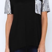 A Touch of Glam Tunic Top - Black