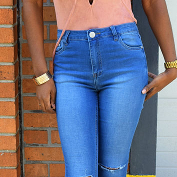 Blue Vintage Washed Ripped Skinny Jeans