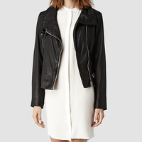 Womens Bales Leather Biker Jacket (Black) | ALLSAINTS.com