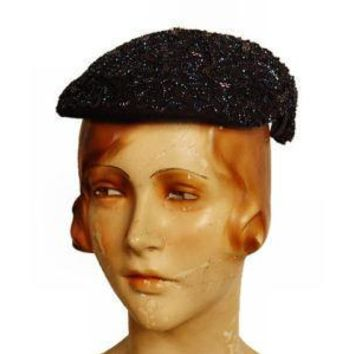 Vintage Navy Beaded Cocktail Hat 1940'S Lilyan Models