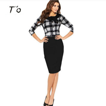 T'O Elegant Womens Boat Neck Button 3 Quarter Tunic Belted Dresses Work Business Office sheath Bodycon Fitted Pencil Dress 72