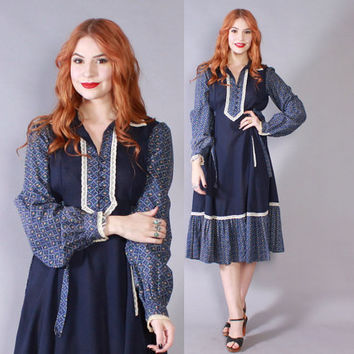 Vintage 70s GUNNE SAX DRESS / 1970s Navy Blue Long Sleeve Floral Midi Prairie Dress S - M