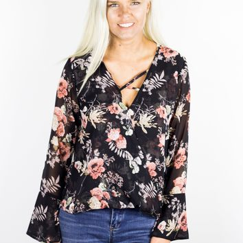 Nico Criss Cross Neck Floral Top by Veronica M