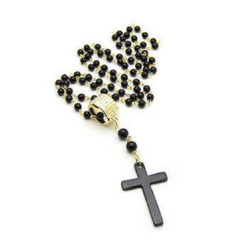 Women's New Long Black Beads Chain Cross Pendant Necklace