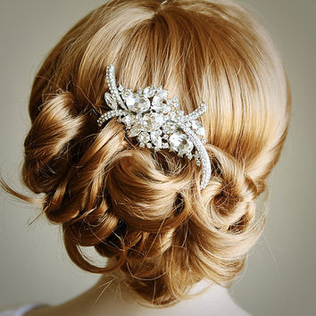 WHITNEY Bridal Hair Comb Art Deco Crystal by GlamorousBijoux