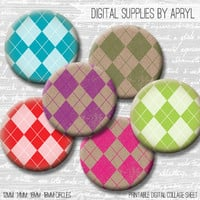 Digital Collage Sheet Argyle Colorful Kraft 18mm 16mm 14mm 12mm Circle Round on 4x6 and 8.5x11 Sheets for Earrings Pendants Cuff Links Image