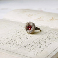 Red Bird's Nest Ring - Small Nest Adjustable Ring - Woodland Eco Jewelry - Wedding Favor