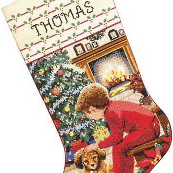 """Waiting For Santa Stocking Counted Cross Stitch Kit 18"""" Long 14 Count"""