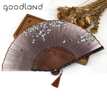 Free Shipping 1pcs Linen Chinese Blossom Bamboo Folding Fan Gift Bag Wedding Favors and Gifts Party Decoration Craft Supplies