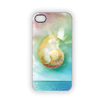 Nautilus iPhone Case, Seashell iPhone Case, Ocean, Beach, Birds, Flying, Protective, Modern, Pastels, Watercolor, Zen, Spring, Summer