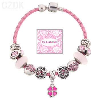 SL-64 Pink Leather Charm Bracelet 925 Sterling Silver Murano Glass & Crystal Beads + Free Shipping