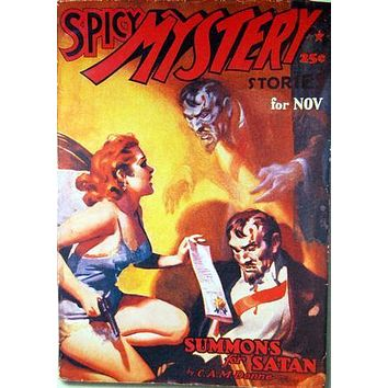 Pulp Fiction Novel Exploitation Art Poster Spicy Mystery Summon Satan 27inx40in