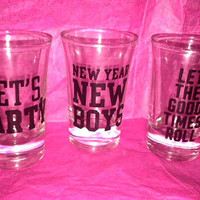 Custom Old Style 1986 Victoria Secret VS Pink Set of 3 Shot Glasses
