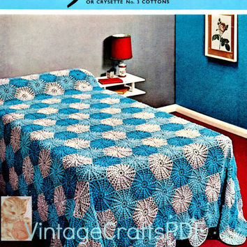 1960s Single Bedspread-Vintage Crochet Pattern-Similiar to Granny Square Pattern cuz is a Motif Pattern-Piece by Piece-Vintage Crafts PDF