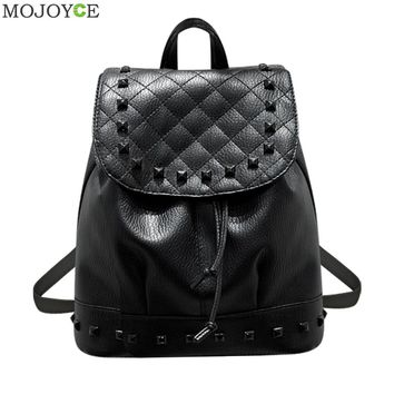 2017 Winter Washed PU Leather Backpack Fashion Female Mini Rivet Backpack Teenage Girls Travel Mochila Escolar Women Backpacks