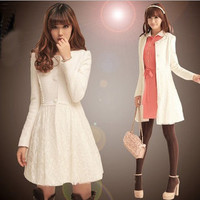 White Graceful Ladies Korean Fashion Puff Sleeve Lace high quality Woolen Coat