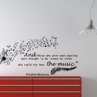 Housewares Vinyl Decal Quote Nietzsche Dandelion Feather Musical Note Home Wall Art Decor Removable Stylish Sticker Mural Unique Design for Any Room