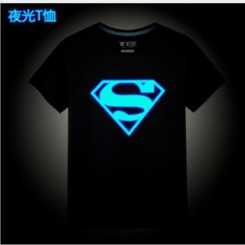Luminous Superman 3D T shirt Mens Short Sleeve Casual Round Neck Shirt S-3XL