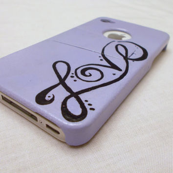 Hand painted Love  cell phone case lavender purple for iphone 4 and 4s, hand painted with kickstand. Fast shipping, made to order