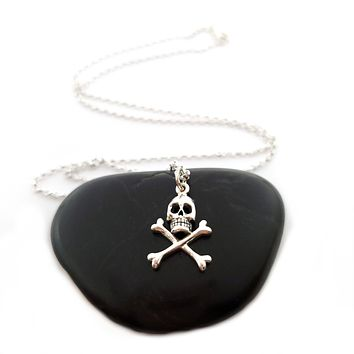Skull and Crossbones Necklace - Sterling Silver Jewelry