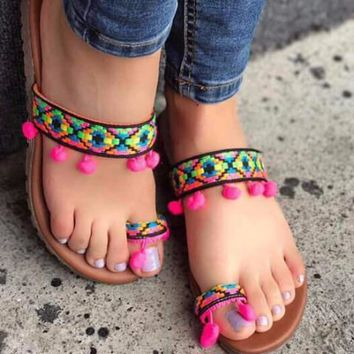 Boho Ethnic Tribal Sandals Rainbow with Pink Pompoms