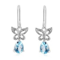 Diamond & Blue Topaz Butterfly Earrings in Sterling Silver