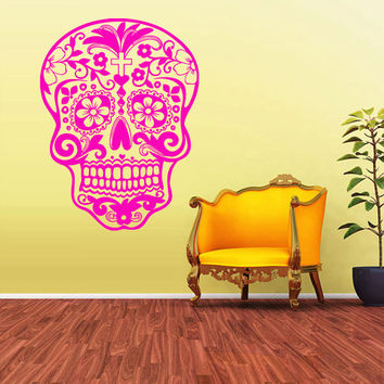 Wall Decal Mural Sticker Beautyfull Cute Sugar Skull Bedroom Curly modern fashion (z2027)