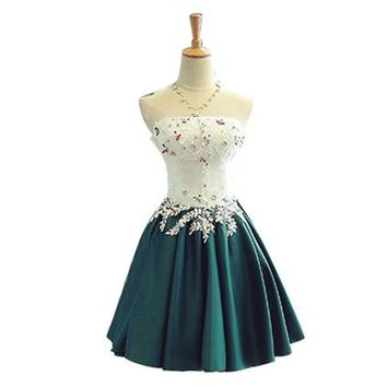 Semi Formal Dress Homcoming Dress 2017 Strapless Applique Flower Lace up 8th Grade Graduation Dresses Short 15 Year Dress 121313