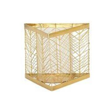 Classy Metal Glass Gold Candle Holder
