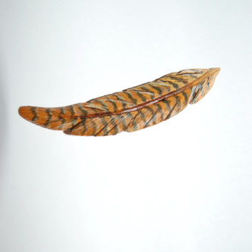 Wood feather brooch, hand carved brooch, wood carving, duck feather, wooden feather, handmade, wooden hat pin, Christmas gift, duck hat pin