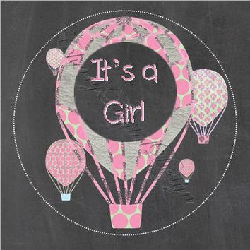 Pink Hot Air Balloon It's a Girl Cupcake Toppers!  Baby Shower, Wedding Shower, Birthday Party