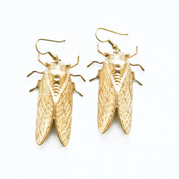 cicada - oversized brass insect earrings