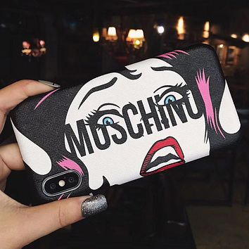 Moschino Tide brand classic print iPhoneXS max hard shell leather phone case cover 1