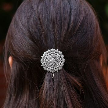 Vintage Styling Mandala Necklace Yoga Zen Meditation Art Hair Clip Geometry Amulet Hairpin Women Hair Accessories Jewelry