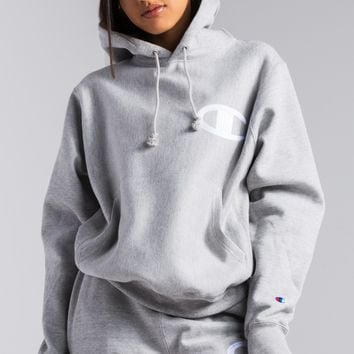 Champion Reverse Weave Big C Stitched Patch Women's Hoodie in Oxford Grey, Black
