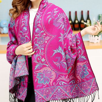 Flower Pattern Winter Warm Scarf Cape