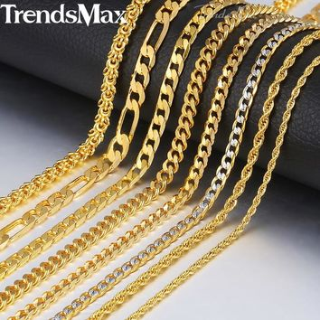 "Trendsmax Gold Necklace For Men Women Figaro Rope Snake Cuban Link Chain Necklace Men Fashion Jewelry Hip Hop 18-24"" GNN2"
