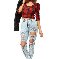 Distressed High Waist Shredded Jeans