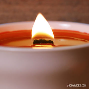 Free Shipping - Orange Candle with Wooden Wick - Scented with Mango or Unscented - Natural Clean Burning Soy Palm Wax - 6 oz