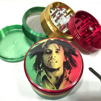 "Bob Marley Rasta Colors Alumium Grinder 4 Piece 2.5"" Wide Dreads Music"