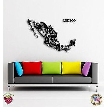 Wall Sticker Map Mexico Mexican Latin America  Decor For Living Room Unique Gift (z1597)