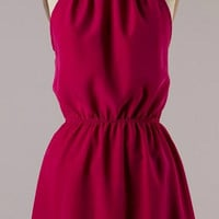 Maroon Halter Dress with Lace Detail