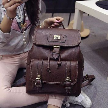 ONETOW Day-First? Vintage Brown Leather Large Backpack Travel Bag