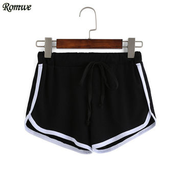 ROMWE High Street 2016 Summer Ladies Casual Contrast Draw Cord Waist Black and White Colorblock Loose Mid Waist Shorts